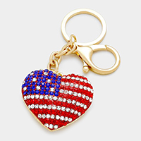 American flag crystal pave heart keychain