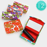 12 PCS - Floral print lipstick cases with mirrors