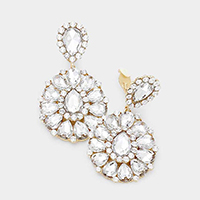 Crystal Teardrop Cluster Statement Clip on Earrings
