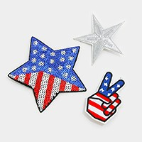 3 PCS - sequin American flag star  embroidered patch brooch
