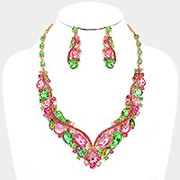 Glass crystal evening necklace
