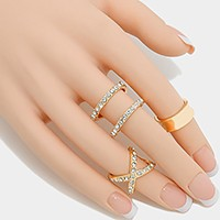 3 PCS - Mixed crystal metal midi cuff ring
