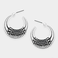 BUBBLY TEXTURE ETCHED POST HOOP EARRINGS