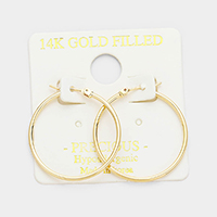 14 K gold filled 3 cm Hypoallergenic hoop earrings