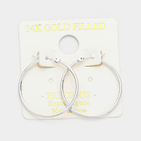 14 K white gold filled 3 cm Hypoallergenic hoop earrings