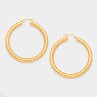 Hypoallergenic stainless steel metal hoop earrings