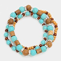 Wooded bead & turquoise strand stack stretch bracelet
