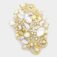 Floral glass crystal brooch