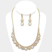 DROPLET CRYSTAL RHINESTONE EVENING NECKLACE