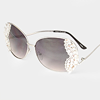 Crystal embellished oversized metal frame sunglasses