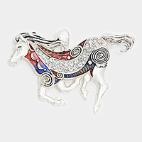Crystal detail lacquered metal horse pendant