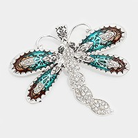 Crystal detail lacquered metal butterfly pendant