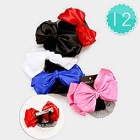 12 PCS - bow mesh net hair barrettes