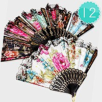 12 PCS - LACED ORIENTAL FLORAL FOLDING FANS
