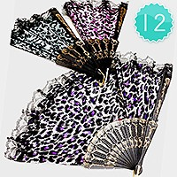 12 PCS - LEOPARD LACED ORIENTAL FOLDING FANS