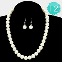 12 PCS - 12 mm pearl strand necklaces