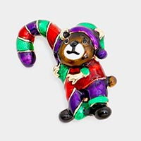 Bear with Christmas Candy Cane Pin Brooch
