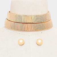 Double row metal omega choker necklace