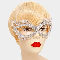 Crystal rhinestone filigree cat eye mask