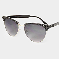 Pearl embellished aviator cat eye sunglasses