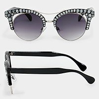 Crystal embellished metal frame cat eye sunglasses