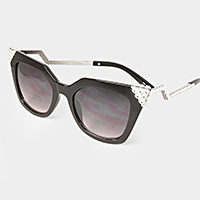 Angled crystal cat eye sunglasses