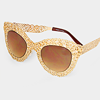 Crystal bubble metal cut out frame cat eye sunglasses