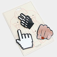 Mixed pixel icon hand cursor brooch set