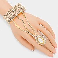 Pearl accented crystal rhinestone evening hand chain bracelet