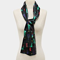 SILK FEEL CHRISTMAS TREE SCARF