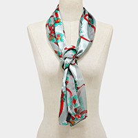 SILK FEEL CHRISTMAS FLOWER SCARF