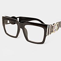 Crystal embellished clear lens square Optical Glasses