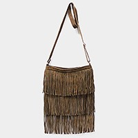 Layered fringe genuine cow suede leather corssbody bag