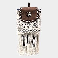 Shell bead crochet fringe backpack bag