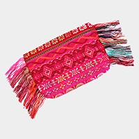 Aztec pattern thread fringe wing zip clutch bag