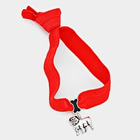 Metal bulldog charm tie hair band