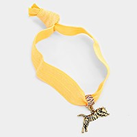 Metal leopard charm tie hair band