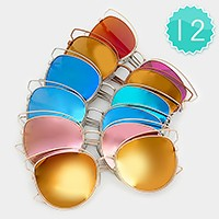 12 Pairs - double deck metal wire frame cat eye mirror sunglasses