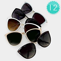 12 Pairs - simple cat eye sunglasses