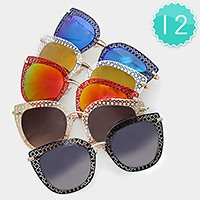 12 Pairs - metal cut out frame sunglasses
