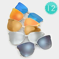 12 Pairs - angular metal frame mirror sunglasses