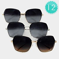 12 Pairs - oversized metal frame sunglasses
