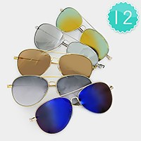 12 Pairs - metal frame aviator mirror sunglasses