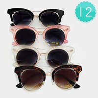 12 Pairs - double deck frame cat eye sunglasses