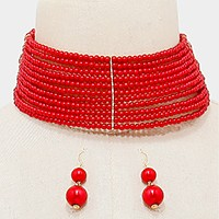 Wide pearl bead choker necklace