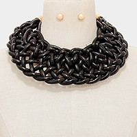 Wide woven collar necklace