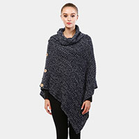 Solid turtleneck poncho with button detail