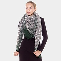 Ombre stripe check square shawl scarf