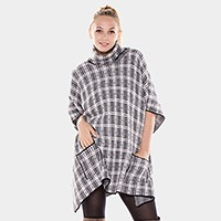 Check turtle pocket poncho with button detail