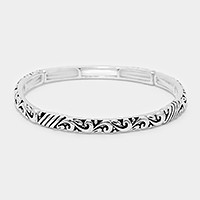Embossed metal filigree stretch bracelet